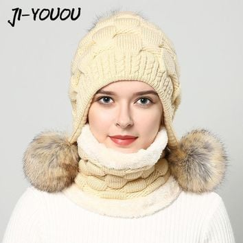 Women's winter hats fur hat pompom fashion beanie raccoon fur ball knitted hat Thicker hat with ear flaps cap scarf earflap