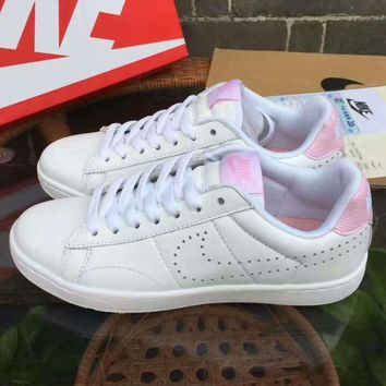 NIKE Tennis Classic Sports small holes running shoes white pink logo HALXY  JL