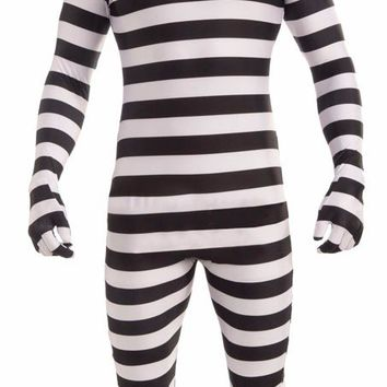 Halloween Stripe Jumpsuits Invisible Strange Prisoner Cosplay Adult Man Odd Mysterious Masquerade Party Fancy Costumes