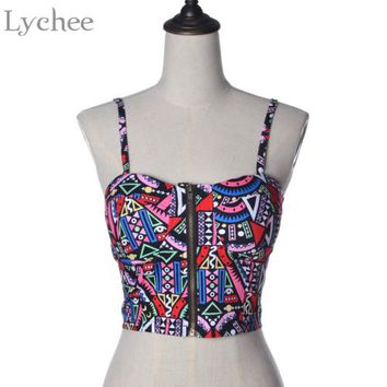 Lychee Sexy Lolita Summer Women Tank Zipper Closure Pattern Print Skinny Cropped Top Bustier Corsets Vest Camisole