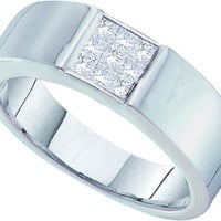 Diamond Invisible Set Mens Ring in 14k White Gold 0.5 ctw
