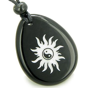 Magic Positive Energy Sun Ying Yang Amulet Black Onyx Lucky Wish Stone Pendant Necklace