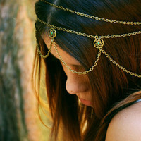 Chain Headpiece Headband Hair Piece Gypsy Bohemian Hipster Boho Bronze Emerald Crystal Charm DrapesBridal  Jewelry