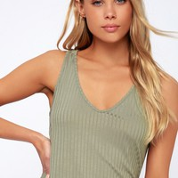 Curtis Sage Green Ribbed Tank Top
