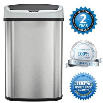 BestOffice Touch Free Sensor Stainless Steel Trash Can, 13.2-Gallon - Walmart.com