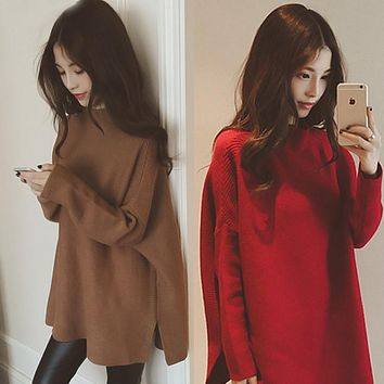 Batwing Sleeve Cloak Loose Knitting Long Sweater