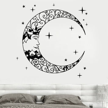 Vinyl Wall Decal Crescent Moon Stars Bedroom Design Stickers Unique Gift (939ig)