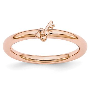 Rose Gold Tone Plated Sterling Silver Stackable 5mm Key Ring
