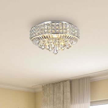Contemporary Glam Silver Chrome 4-light Crystal Flush Mount Chandelier