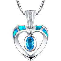 Sterling Silver Open Heart Blue Green Fire Opal and Blue CZ Pendant Necklace