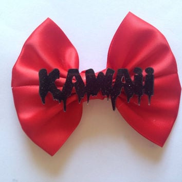 Red Dripping Kawaii Hair Bow Black Melting Creepy Cute Goth Gothic
