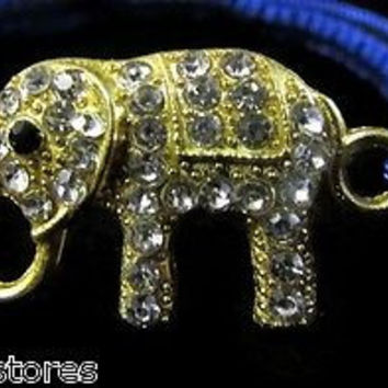 Feng Shui gold Elephant Adjustable Bracelet blue Rope Rhinestones good luck