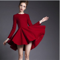 Red Long-Sleeve Asymmetrical Dress