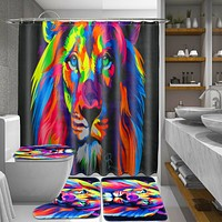 Bathroom Non-Slip Anti Slip Pedestal Rug Lid Toilet Cover Carpet Bath Mat Shower Curtain Cover Floor Rugs Animal Lion Pattern