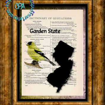 NEW JERSEY State Black Silhouette, State Bird, State Nickname Art - Beautifully Upcycled Vintage Dictionary Page Book Art Print