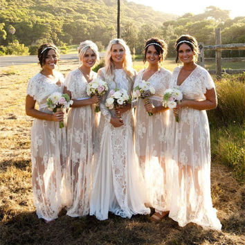 2017 New Summer Bohemian White Sheer Lace Bridesmaid Dresses V Neck Short Sleeves Plus Size Boho Dresses Custom Made