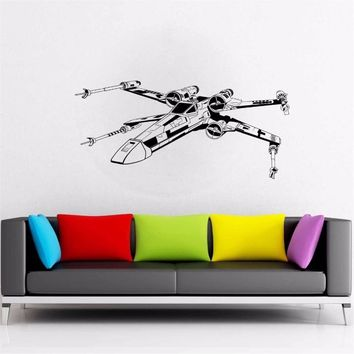 Star Wars Force Episode 1 2 3 4 5 Wall Decals  X Wing Fighter Vinyl Wall Decal Home Decor Removable Wall Stickers For Kids Room Decoration AT_72_6