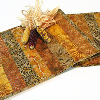 Autumn Table Runner, Quilted Fall Batik Table Runner