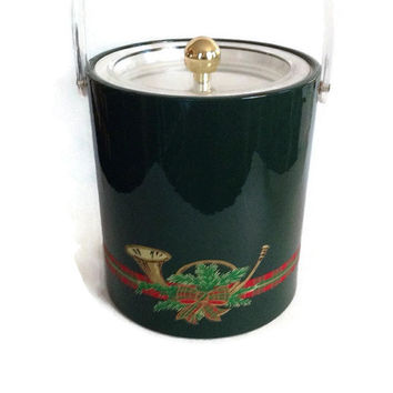 Vintage Georges Briard Christmas Ice Bucket, Plaid,  Musical Instrument, Greens, Forest Green Vinyl, Clear Plexiglass Handle and Top, Signed