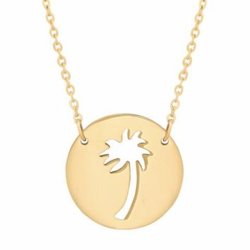 Dainty Palm Tree Cut Out Necklace