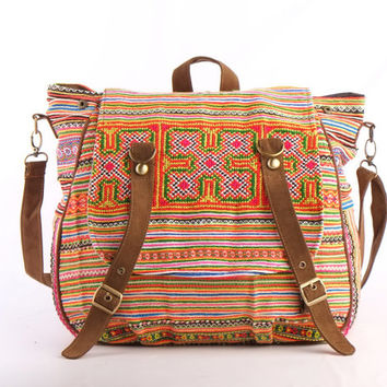 Ethnic Cross body diaper Bag, Backpack Tribal Embroidered Shoulder Bag