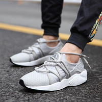 Fashion Sports Leisure Men Shoes Breathable Mesh Leather Patchwork Vamp Male Sneakers Rubber Sole Platform Shoes For Men Retail