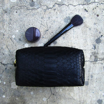 MAKE UP CASE - Jet Black Python Snakeskin Leather Make Up Pouch