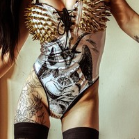 TOXIC VISION spiked baphomet bodysuit — Toxic Vision
