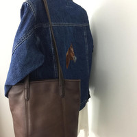 1990s Vintage Coach Bag Brown Leather Lunch Tote Style 9077