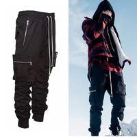 2017 fashion loose Long Pant Men Cargo Pants Baggy Jogger Trousers Fashion Fitted Bottoms streetwear hiphop Pocket pant black