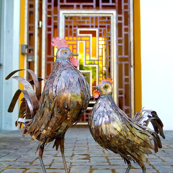 Recycled Metal Rooster Sculpture - Recycled Metal Rooster Sculpture