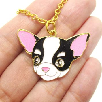 Chihuahua Puppy Dog Shaped Animal Pendant Necklace in Black and White | Limited Edition