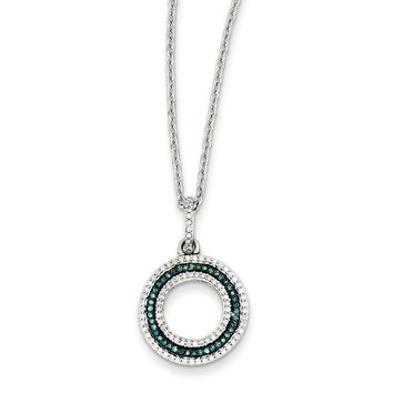 Blue & White Diamond 15mm Open Circle Necklace in Sterling Silver