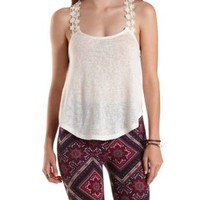 Crochet-Strap Racerback Swing Crop Top by Charlotte Russe