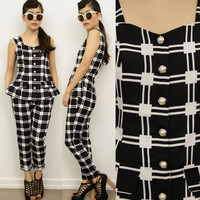 COCO MOD Black White Checkered Grid Tartan Crop Peg Leg Jumpsuits Overalls 8 60s