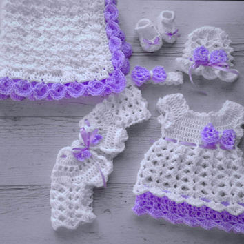 Baby Girl Coming home outfit in white and purpe, newborn girl clothing set, hospital baby girl first outfit
