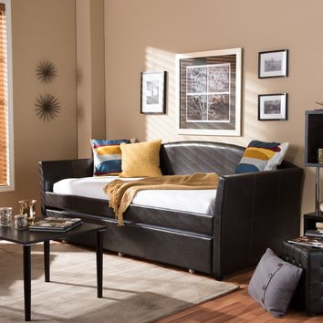 Baxton Studio London Modern and Contemporary Brown Faux Leather Arched Back Sofa Twin Daybed with Roll-Out Trundle Guest Bed Set of 1