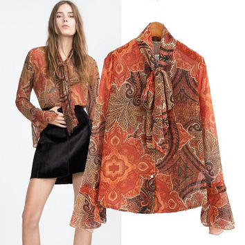 Vintage Print Stylish Long Sleeve Shirt Blouse [5013241796]