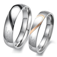 Couple Love Heart Stainless Steel Wedding Bands Womens Mens Promise Ring AU21348