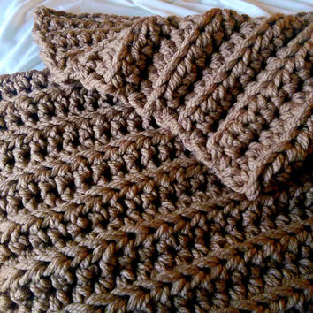 Super Chunky Crochet Blanket, Soft Crochet Chunky Blanket, Extra Chunky Crochet Throw Blanket, Ribbed Crochet Afghan, Bulky Crocheted Afghan