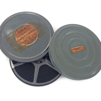 Vintage Film Canisters and Film Reels-8 MM-Home Movies-Metal Canisters-Blue-Compco-1950's Movies-Yellowstone Movie-Set of 2-Photo Film Prop