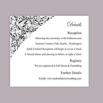 DIY Wedding Details Card Template Editable Text Word File Download Printable Details Card Black Details Card Elegant Information Cards