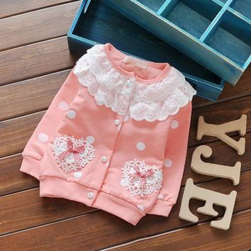Trendy 2017 Children Girl Spring Cardigan Cotton Long Sleeved Coat Lace O Neck Flower Printed Jackets Autumn Dot Outerwear 0-3 Years AT_94_13