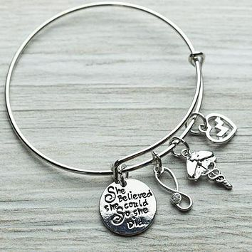Nurse Bracelet She Believed She Could So She Did Bangle