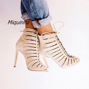 Fashion Beige PU Leather Women Stiletto High Heels Unique Cut-out Peep Toe Sandal Boots Women Lace Up Thin Heel Ankle Booties