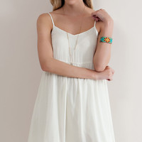 Embroidered Lace Detail Natural Dress
