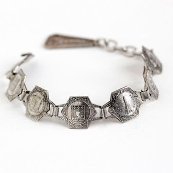 Vintage Silver Tone French Panel Bracelet - 1940s Historical Attractions Paris France Souvenir Tourist Filigrane Depose Dangle Charm Jewelry