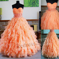 New Orange Formal Prom Party Ball Quinceanera Bridesmaid Evening Dress Size2-30+