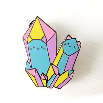 Rainbow Crystal Cats Enamel Brooch - XL Silver Metal Lapel Pin - Cute Illustration by Sparkle Collective