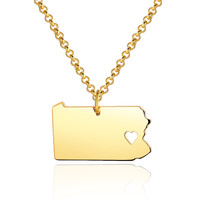 I heart Pennsylvania Pendant - Personalized State Map Necklace Jewelry